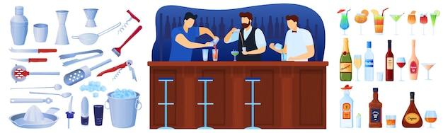 Bar con set di attrezzature per bevande alcoliche e cocktail di illustrazioni isolate. Vettore Premium