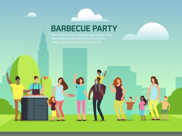 Locandina festa barbecue. famiglie del personaggio dei cartoni animati nell'illustrazione di vettore del parco Vettore Premium
