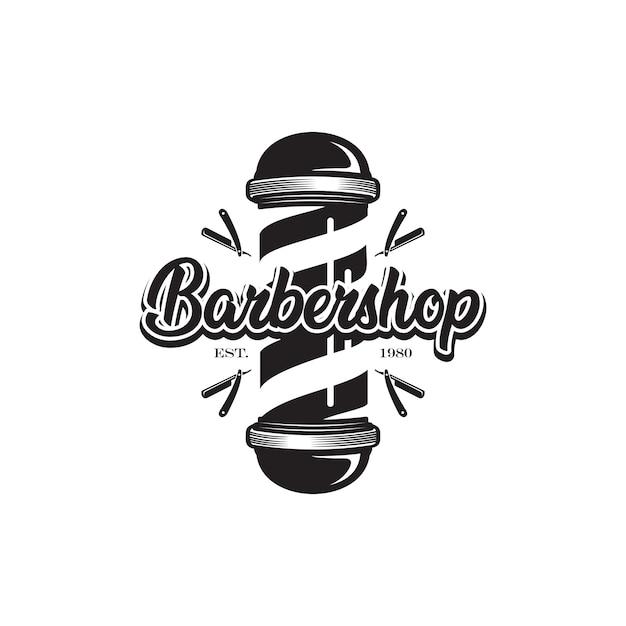 Bastone da barbiere, logo da barbiere Vettore Premium