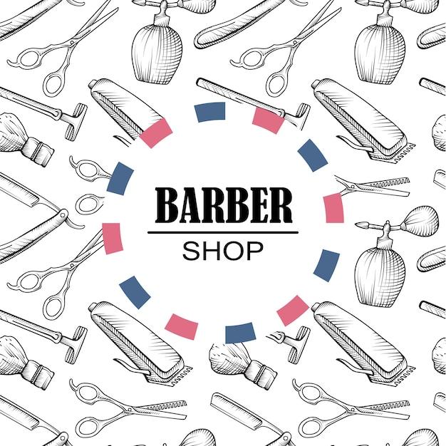 Elementi del negozio del barbiere sfondo pattern di elementi Vettore Premium