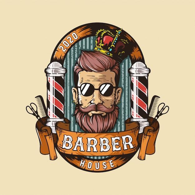 Logo del negozio di barbiere Vettore Premium