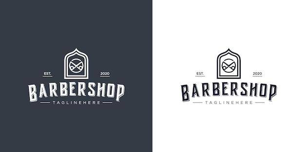 Logo del negozio di barbiere. Vettore Premium