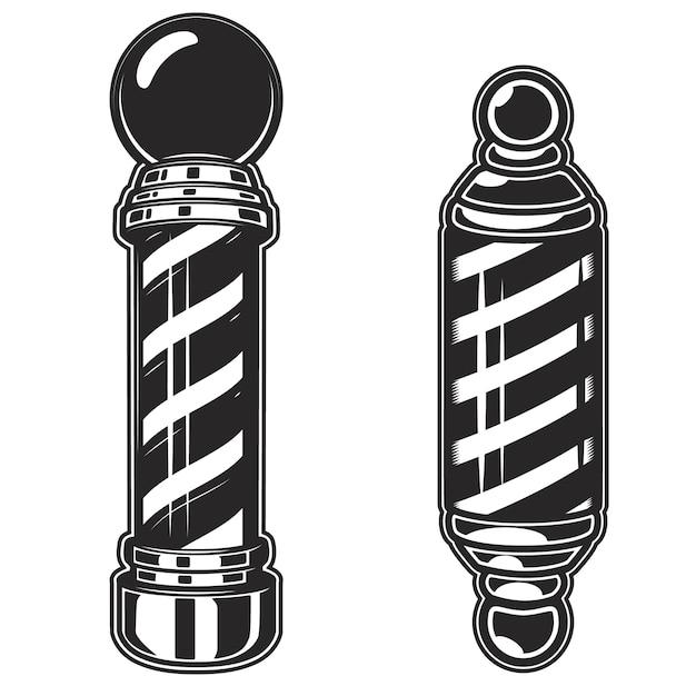 Illustrazioni del palo del negozio di barbiere su fondo bianco. elemento per poster, emblema, segno, distintivo. illustrazione Vettore Premium