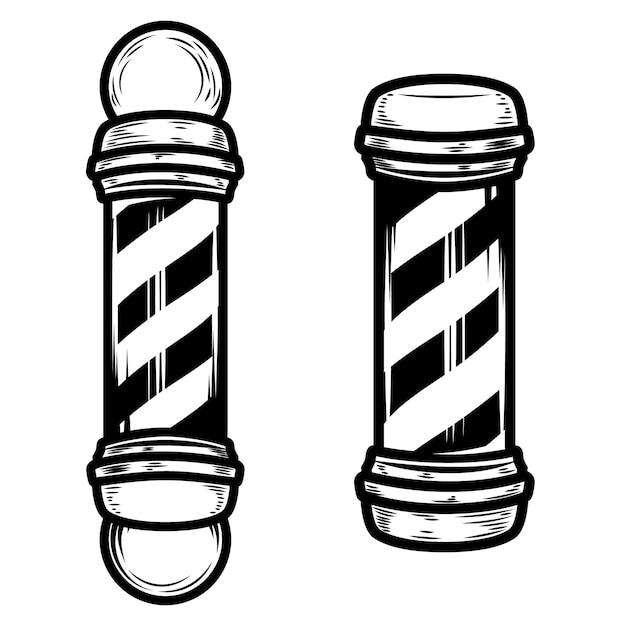 Illustrazioni del palo del negozio di barbiere su fondo bianco. elementi per poster, emblema, segno, distintivo. illustrazione Vettore Premium