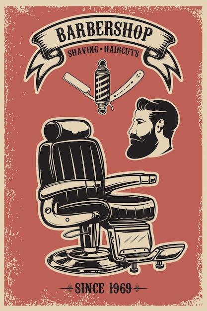Modello del manifesto del negozio di barbiere. sedia da barbiere e strumenti su sfondo grunge. elemento per emblema, segno, poster, carta ,. illustrazione Vettore Premium