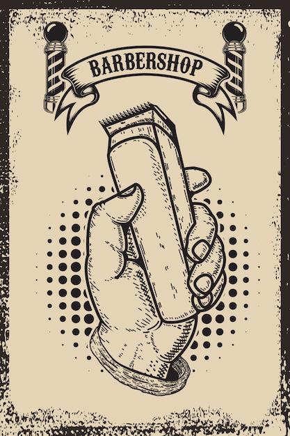 Modello del manifesto del negozio di barbiere. mano umana con tosatrice. elemento per carta, volantino. illustrazione Vettore Premium