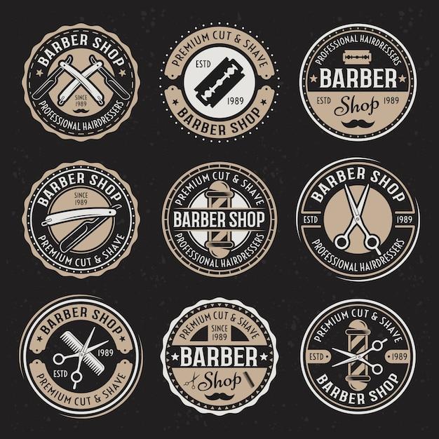 Barber shop set di nove distintivi rotondi vintage colorati di vettore Vettore Premium