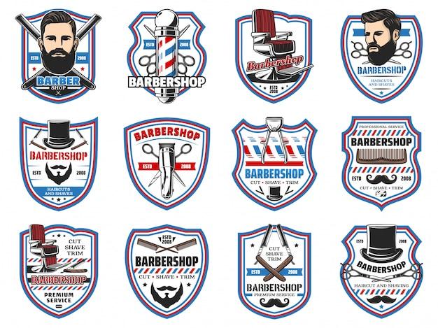 Insegne di barbiere, baffi e salone di rasatura della barba Vettore Premium