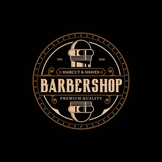Barbiere modello elegante e lussuoso logo vintage cerchio design premium Vettore Premium
