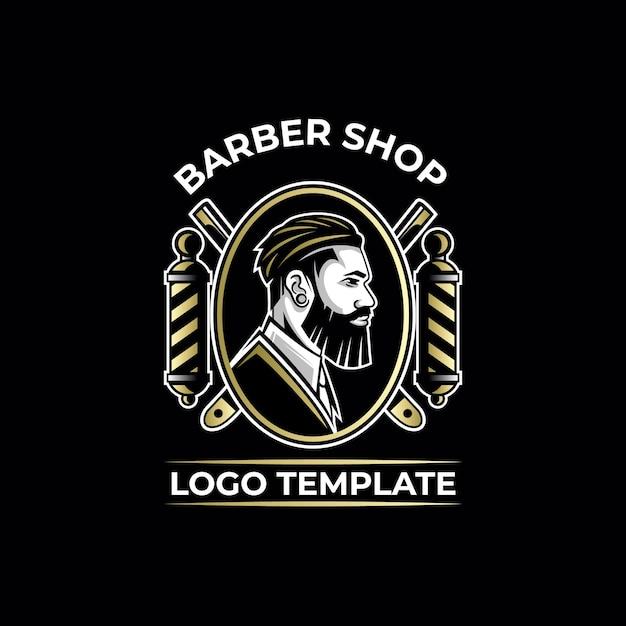 Modello di logo di lusso oro da barbiere Vettore Premium