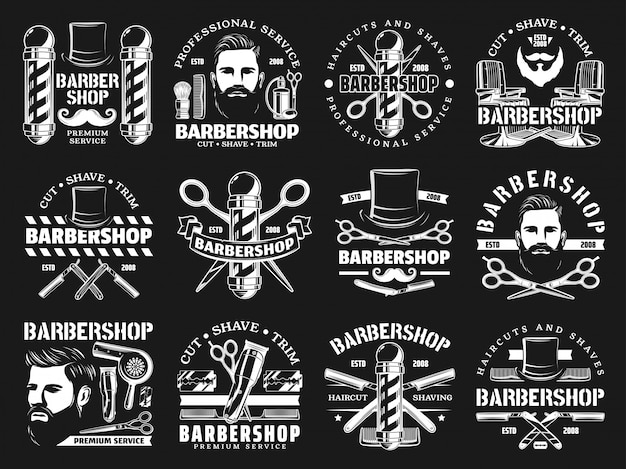 Parrucchiere da parrucchiere premium, rasatura della barba Vettore Premium