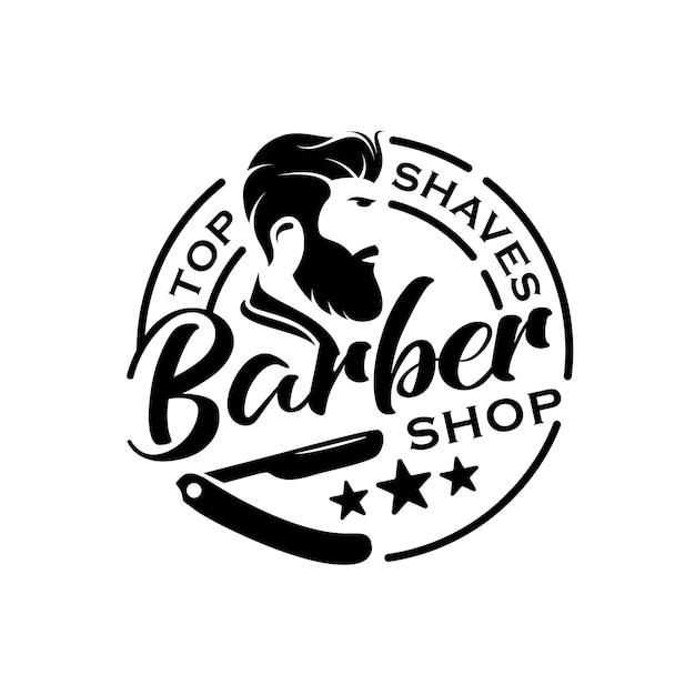 Barbershop vintage retrò distintivo logo timbro o sigillo adesivo modello di progettazione Vettore Premium