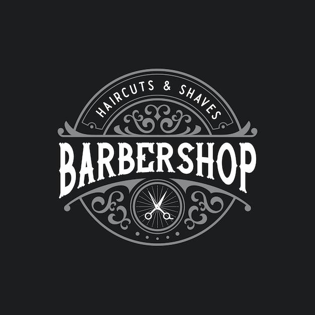 Barbershop logo distintivo retrò vintage con cornice ornamentale Vettore Premium