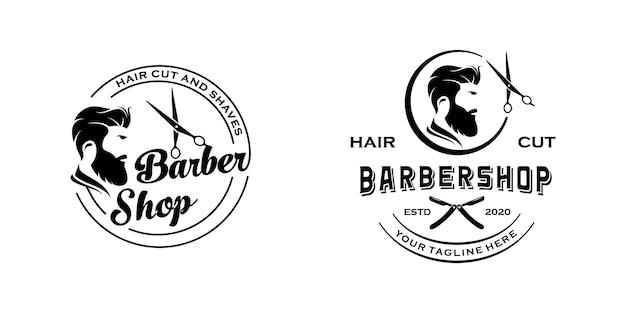 Modello di ispirazione per il design del logo retrò vintage da barbiere Vettore Premium