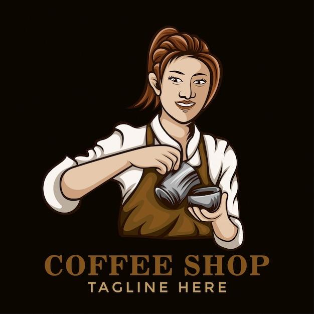 Logo di ragazza barista caffè Vettore Premium