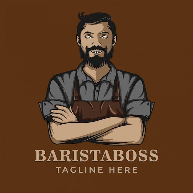 Modello di logo del miscelatore di caffè barista Vettore Premium