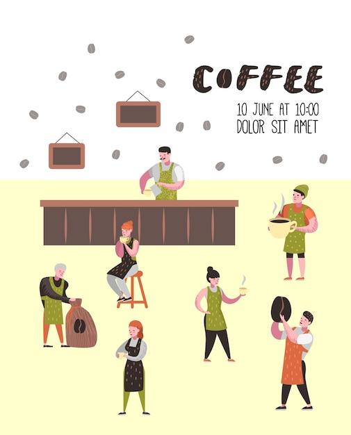 Barista uomo e donna personaggi piatti nella caffetteria Vettore Premium