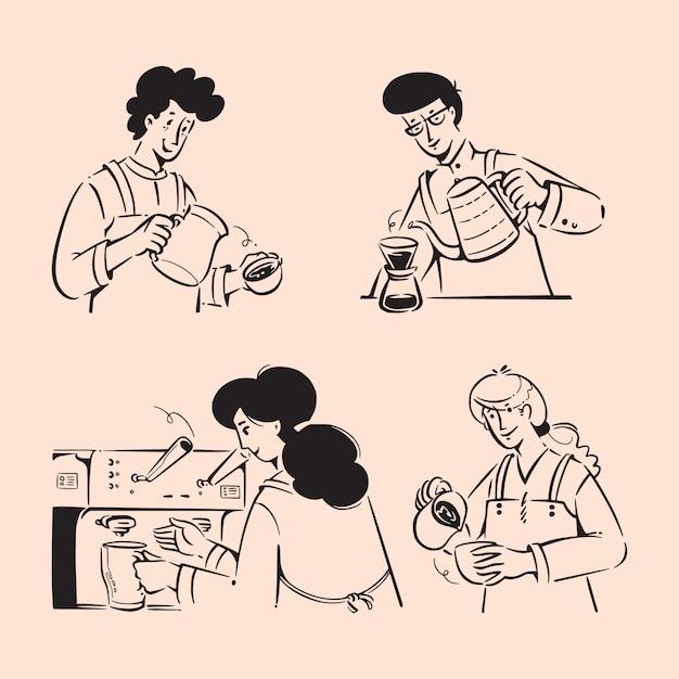 Barista people scarabocchi illustrazioni Vettore Premium