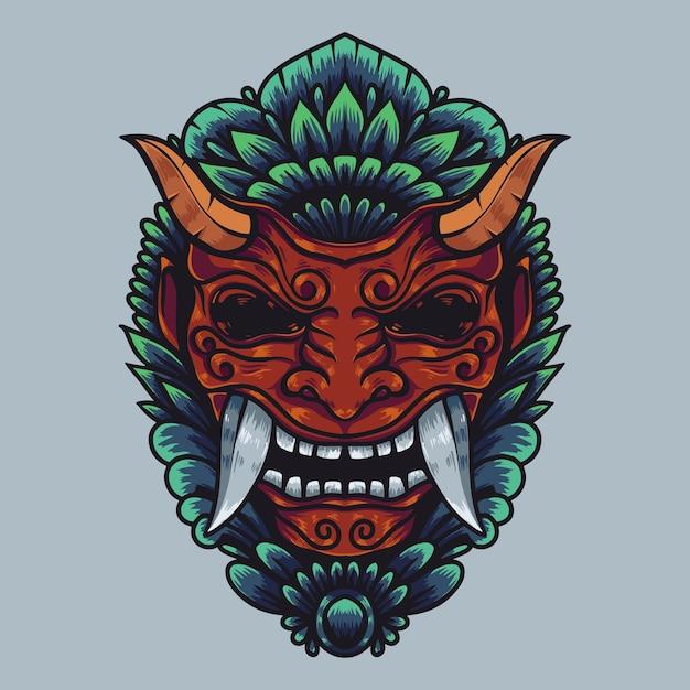 Illustrazione di opere d'arte della cultura balinese di barong con colori dettagliati Vettore Premium