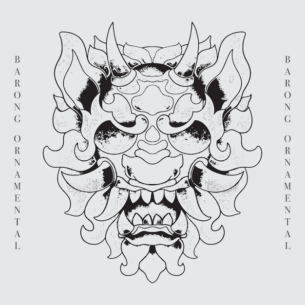 Barong head balinese culture line art illustration Vettore Premium