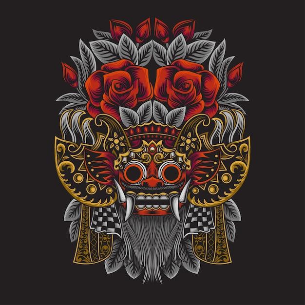 Illustrazione di barong della cultura balinese indonesiana Vettore Premium
