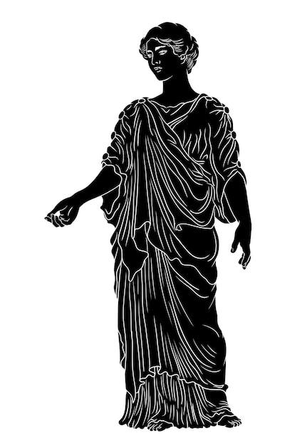 La giovane donna greca antica di base con una tunica e un mantello si alza distoglie lo sguardo e fa dei gesti. Vettore Premium