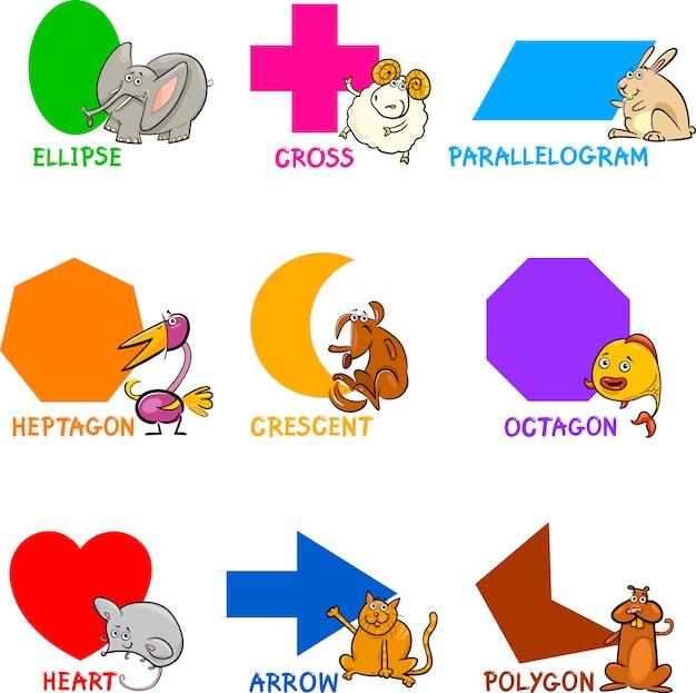 Forme geometriche di base con animali dei cartoni animati Vettore Premium