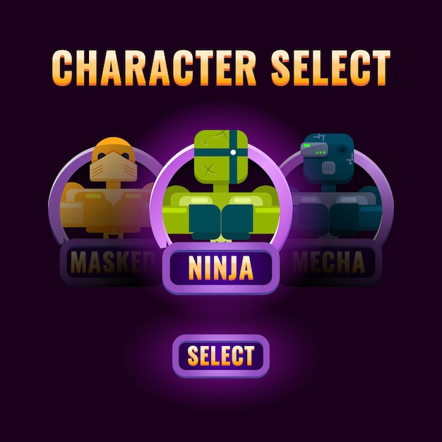 Selezione del personaggio dell'interfaccia utente di gioco viola lucido di base Vettore Premium