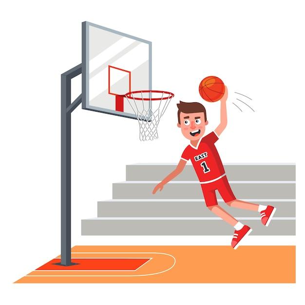 Giocatore di basket in uniforme rossa lancia la palla sul ring. Vettore Premium