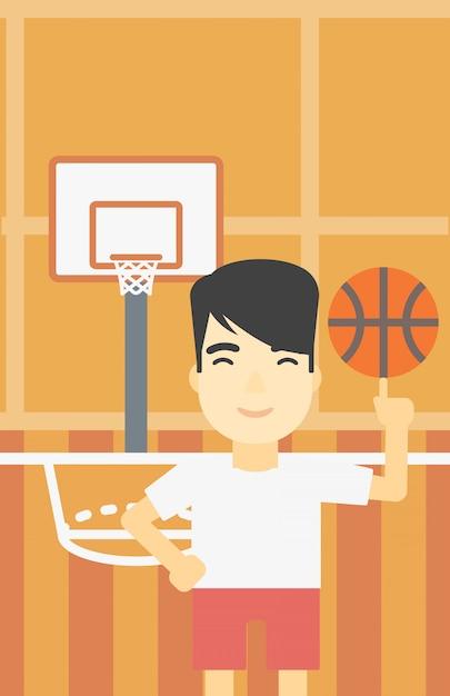 Palla da spinning del giocatore di pallacanestro. Vettore Premium