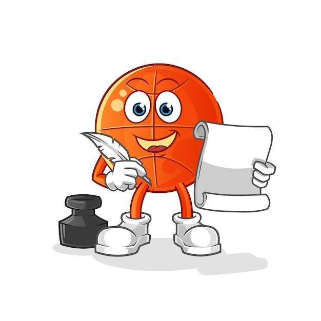 Vettore di scrittore di basket. personaggio dei cartoni animati Vettore Premium