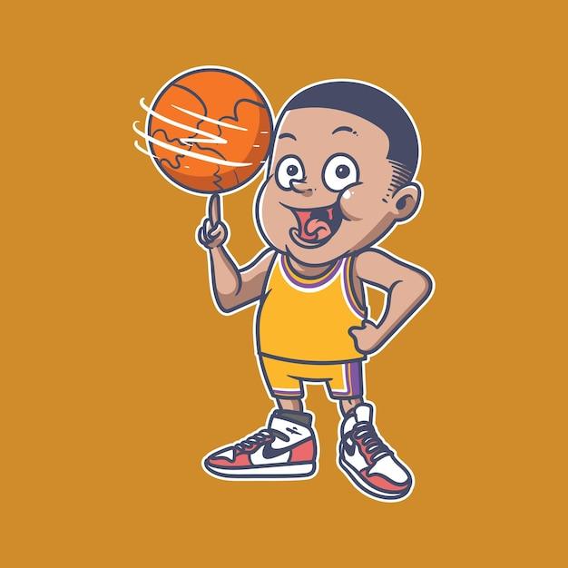 Illustrazione di basketboy Vettore Premium