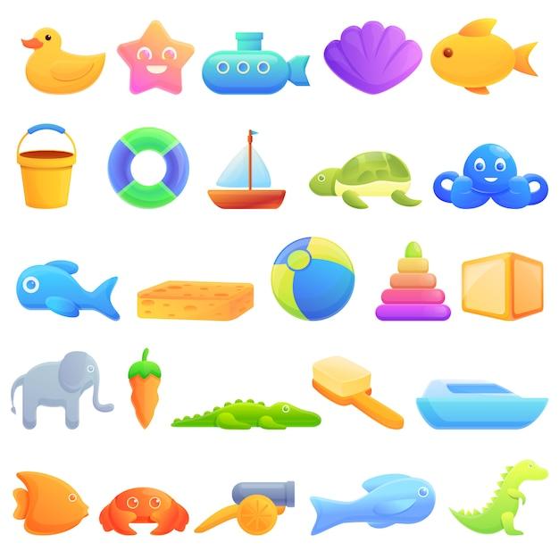 Icone dei giocattoli del bagno messe, stile del fumetto Vettore Premium