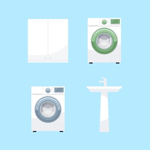 Set di illustrazioni a colori rgb semi mobili da bagno. equipaggiamento per il bagno di destra. lavatrice, lavabo in ceramica, raccolta di oggetti del fumetto armadietto su priorità bassa blu Vettore Premium