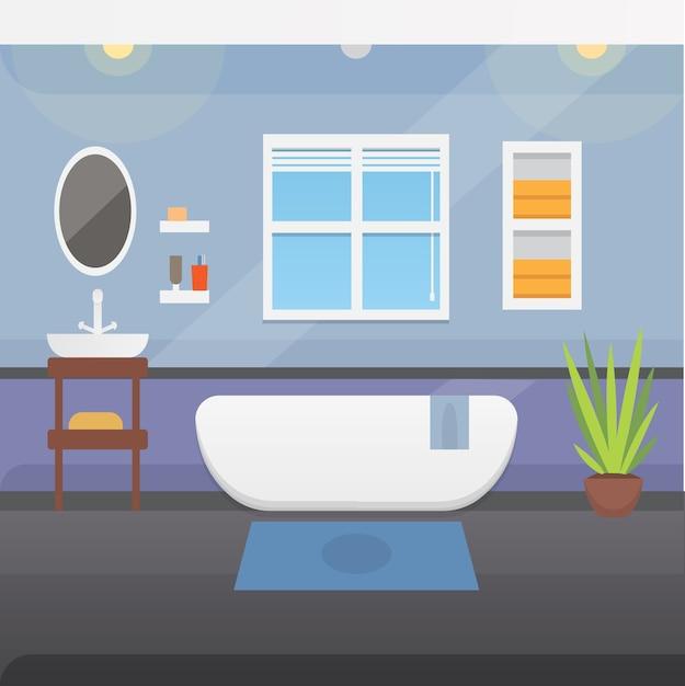 Illustrazione di interni o architettura e mobili del bagno. Vettore Premium