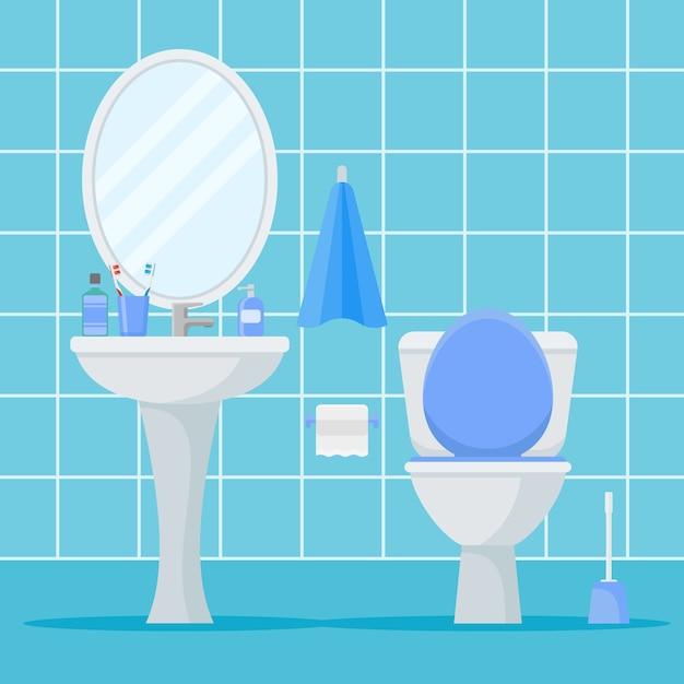 Interno del bagno con water, lavabo e specchio. stile piatto Vettore Premium