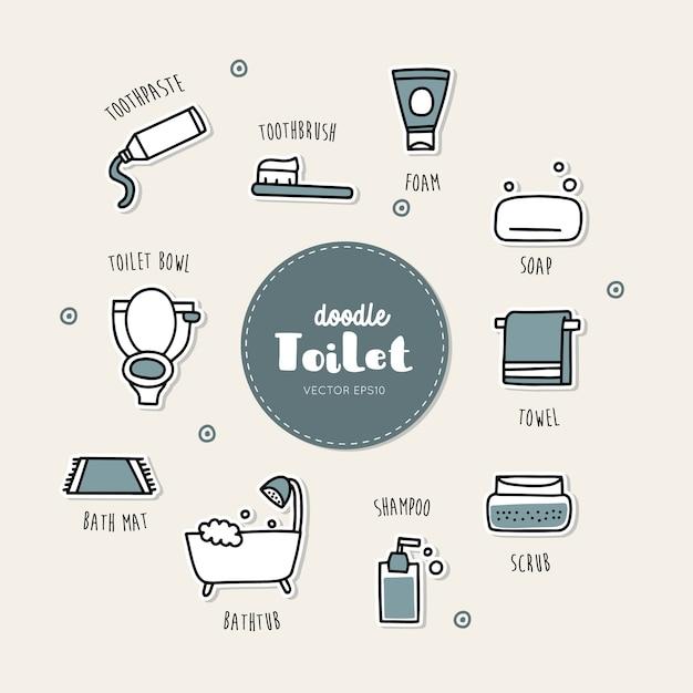 Icone disegnate a mano di doodle della toilette e del bagno messe. Vettore Premium