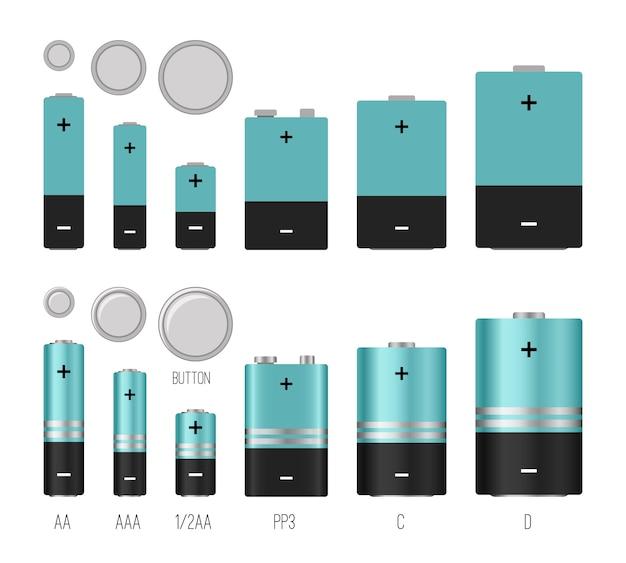 Illustrazione delle dimensioni della batteria. batterie dimensioni immagine vettoriale isolato, stili di batterie, oggetti industriali elettronici di batterie diverse, componenti elettrici chimici al litio Vettore Premium