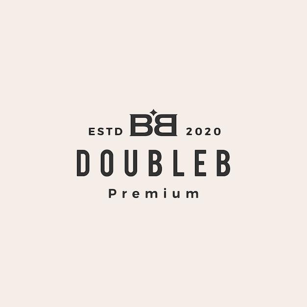 Bb doppia b lettera marchio vintage icona logo illustrazione Vettore Premium