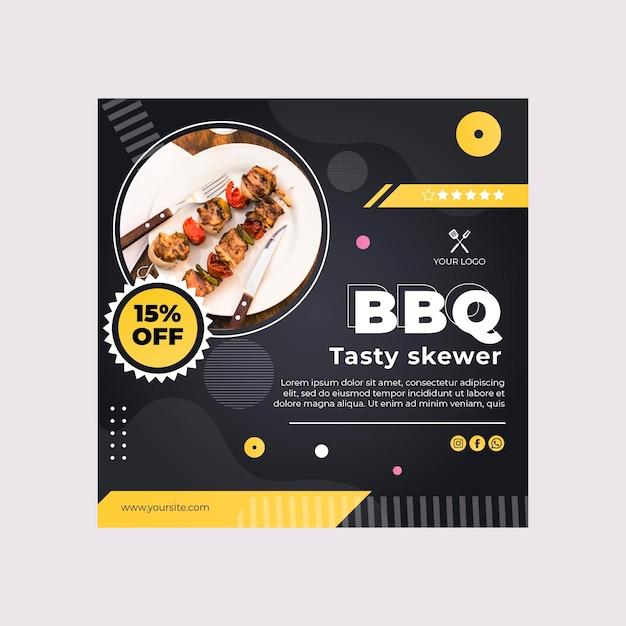 Modello di volantino quadrato miglior ristorante fast food barbecue Vettore Premium