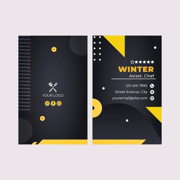 Modello di biglietto da visita verticale del ristorante fast food barbecue Vettore Premium