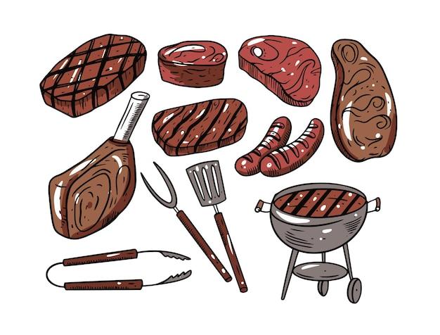 Bbq carne hand drawingset isolato su bianco Vettore Premium