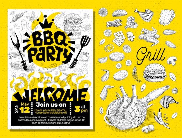 Manifesto dell'alimento del partito del bbq. Vettore Premium