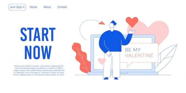 Sii il mio design di landing page per il servizio di incontri di san valentino Vettore Premium