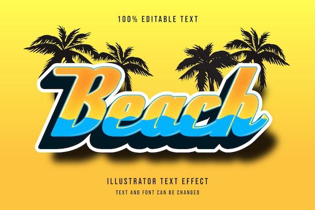 Spiaggia, stile comico modificabile dell'ombra moderna di giallo del testo di effetto arancio editabile di effetto del testo 3d Vettore Premium
