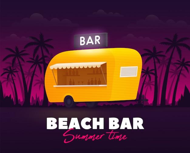 Bar sulla spiaggia, ora legale. rimorchio bar esterno. camion spiaggia. camion giallo. Vettore Premium