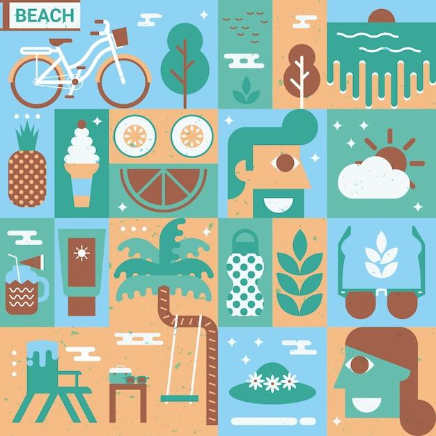 Concetto di spiaggia Vettore Premium