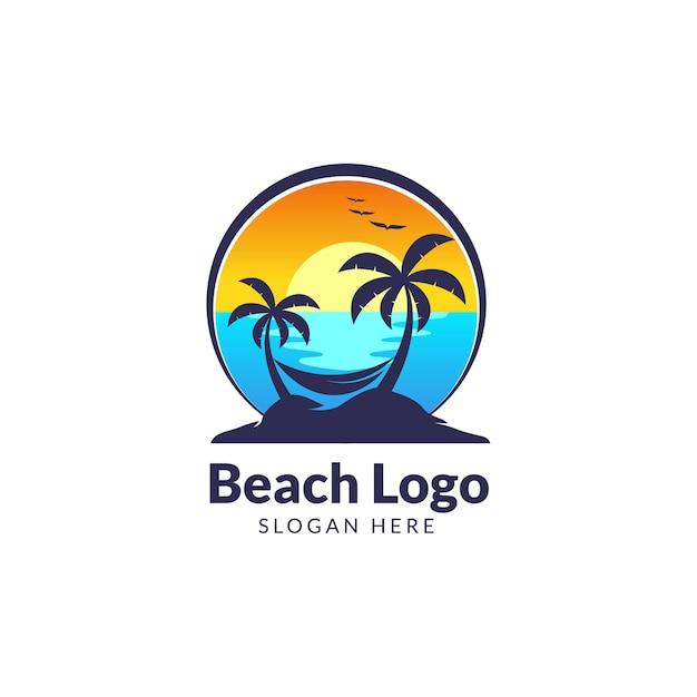 Beach ciao estate logo modello Vettore Premium
