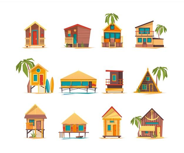 Case al mare. divertenti edifici per vacanze estive in bungalow tropicali e costruzioni Vettore Premium