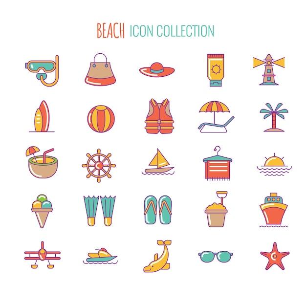 Icona della spiaggia Vettore Premium